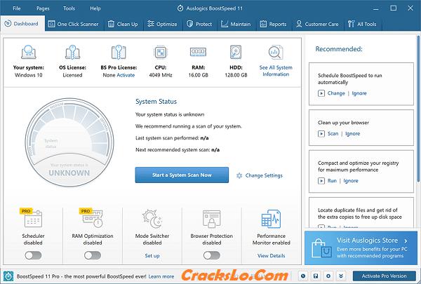 Auslogics BoostSpeed Pro License Key